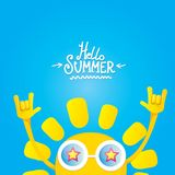 Hello summer rock n roll poster. summer party Royalty Free Stock Photography