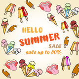 Hello Summer Sale Poster with ice cream Royalty Free Stock Image