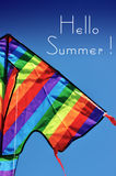Hello Summer sample text with bright colorful kite Stock Photography