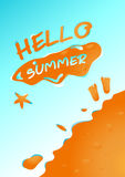 Hello summer in sand beach background vector design Stock Images