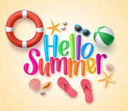 Hello Summer in the Sand Colorful Text and Background. With Summer Season Items in the Beach. Vector Illustration Stock Photos