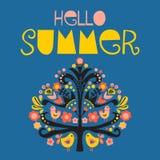 Hello Summer Scandinavian folk vector illustration vector illustration