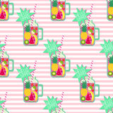 Hello summer seamless pattern. Fresh smoothie and fruits on stripped background. Stock Photography