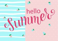 HELLO SUMMER LETTERING. HELLO SUMMER-season vocation, weekend, holiday badge. Summer time wallpaper. Summer vector lettering text. Happy Summer Day. EPS 10 vector illustration