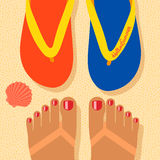 Hello summer, self shoot feet on the beach. Hello summer - concept background, self shoot feet and flip-flop on the sand beach, selfie. Vector image Stock Images
