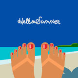 Hello summer, self shoot female feet on the beach Stock Photos