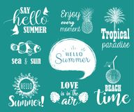 Hello summer set. Collection of hand lettering with summer phrases. And sketches Stock Photo