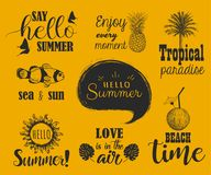 Hello summer set. Collection of hand lettering with summer. Phrases and sketches Royalty Free Stock Image