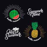 Hello summer set. Hand written lettering quotes and hand drawn pineapple and watermelon. Royalty Free Stock Images