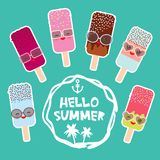Hello Summer set ice cream, ice lolly Kawaii with sunglasses pink cheeks and winking eyes, pastel colors on light blue background. Vector illustration Stock Photos