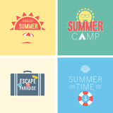 Hello summer set. Vector illustration. Vintag - card Hello summer set. Vector illustration Stock Image