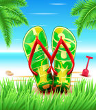 Hello Summer Slippers or Flip flops at the Beach for with Blue sky Stock Image