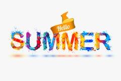 Hello summer. Splash paint letters Stock Photography