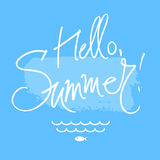 Hello summer. A square vector with a hello summer freehand text. A summer illustration with waves and fish Royalty Free Stock Image