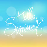 Hello summer. A square vector image with a blurred background and a freehand text hello summer Royalty Free Stock Photos
