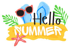 Hello Summer sticker in watercolor style Royalty Free Stock Photo