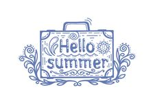 Hello summer, a suitcase with an inscription Stock Image