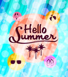 Hello Summer with Summer Icons in a Beautiful Abstract Stock Photos