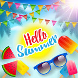 Hello Summer,Summer Poster, Flyer or Invitation Background. Royalty Free Stock Photo