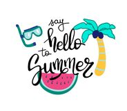 Hello Summer. Summer quote. Handwritten for holiday greeting cards. Hand drawn illustration. Handwritten lettering. Hand Stock Images