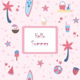Hello Summer. Summer Seamless Pattern with palms, coconuts, ice cream, and strawberry. Royalty Free Stock Photos