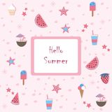 Hello Summer. Summer Seamless Pattern with watermelons and strawberry. Cute Background, summer fruits. Stock Photo