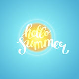 Hello summer, summer time. Poster on sun background. Handdrawn, Royalty Free Stock Image