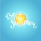 Hello summer, summer time. Poster on sun background. Handdrawn, Royalty Free Stock Photo