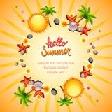 Hello summer sun wreath Stock Images