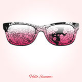 Hello summer sunglasses design vector illustration Stock Images