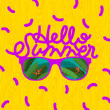 Hello summer, sunglasses with palm reflection Royalty Free Stock Photo