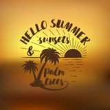 Hello Summer, sunsets and palm trees. Handdrawn typography summer posters Stock Photos