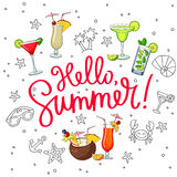 Hello Summer surrounded from different cocktails and summer icon Royalty Free Stock Image