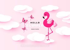 Hello Summer sweet banner with paper clouds,pink flamingo and butterflies. Vector illustration. vector illustration
