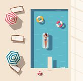 Hello summer. Swimming pool. Flat vector illustration. Concept of recreation with chaise lounges, parasol umbrellas. Bright design. Leisure activity. Swimming Stock Photography