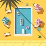 Hello summer. Swimming pool. Flat vector illustration. Concept of recreation with chaise lounges, parasol umbrellas. Bright design. Leisure activity. Swimming Stock Photos