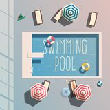 Hello summer. Swimming pool. Flat vector illustration. Concept of recreation with chaise lounges, parasol umbrellas. Bright design. Leisure activity. Swimming Stock Image