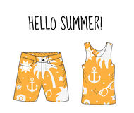 Hello summer T-shirt and shorts with beach print. Summer, beach theme. T-shirt and shorts, summer clothes. Vector illustration. Royalty Free Stock Photos