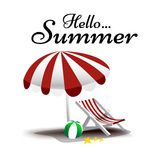 Hello Summer text with beach chair and umbrella vector illustrat Royalty Free Stock Photos