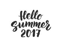 Hello Summer 2017 text, hand drawn brush lettering. Great  Stock Photos
