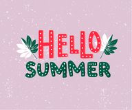 Hello summer text. Hand lettering inscription, green palm leaves on pastel violet background. Summer greeting card or Stock Photo