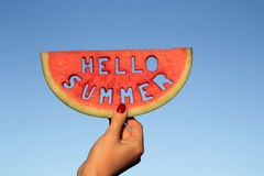 Free Hello Summer Text In Watermelon Royalty Free Stock Photo - 93844065