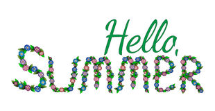 Hello summer text isolated on the white background. Flower colorful letter for summer design typography. Summer quote vector Stock Image