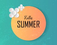 Hello summer text on large sun and decorated paper art flowers o stock illustration