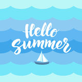 Hello Summer text with nautical design elements. Boat icon  Royalty Free Stock Photos