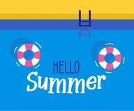 Hello summer text with a swimming pool background. Vector illustration design for seasonal holidays. Vacations, resorts, summer related subjects Royalty Free Illustration