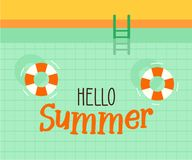 Hello summer text with a swimming pool background. Vector illustration design for seasonal holidays, vacations, resorts, summer. Related subjects stock illustration