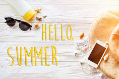 Hello summer text ,travel vacation concept, flat lay, space for Royalty Free Stock Images