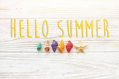 Hello summer text, travel vacation concept, space for text, flat Stock Photos