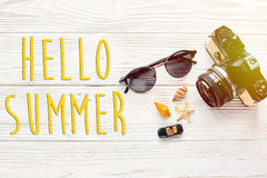 Hello summer text, travel and wanderlust concept, summer vacatio Stock Images